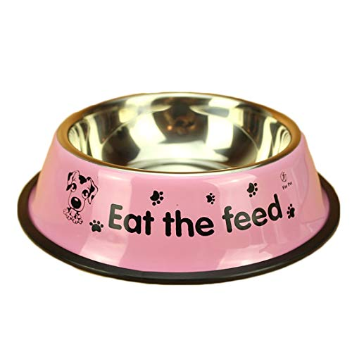 KERVINZHANG Hundeschüssel Hundetopf Edelstahl Haustier Hund Reisschüssel Hund Katze Tablett Katze Heimtierbedarf (Color : Pink, Size : M-22CM)