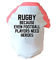 Rugby because even football players need heros two toned dog vest pink or blue