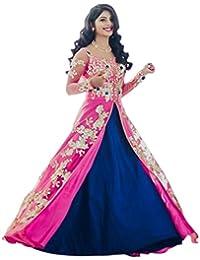 ShreeBalaji Enterprise Women's Silk Embroidered Anarkali Lehnga Choli (MultiColour_Free Size)