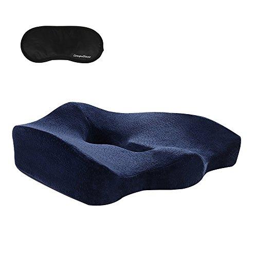 CompuClever Orthopädische Sitzkissen Memory Foam für Schmerzen im unteren Rücken Tailbone Ischias Hämorrhoiden Becken Schmerzlinderung Lordosenstütze Sitzkissen für Auto Bürostuhl Rollstuhl Liege Sofa Flugzeug Reisen Blau