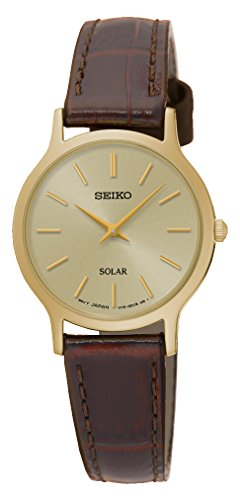 Seiko SUP302P1 Ladies Solar Watch, Gold Finish Case and Brown Leather Strap