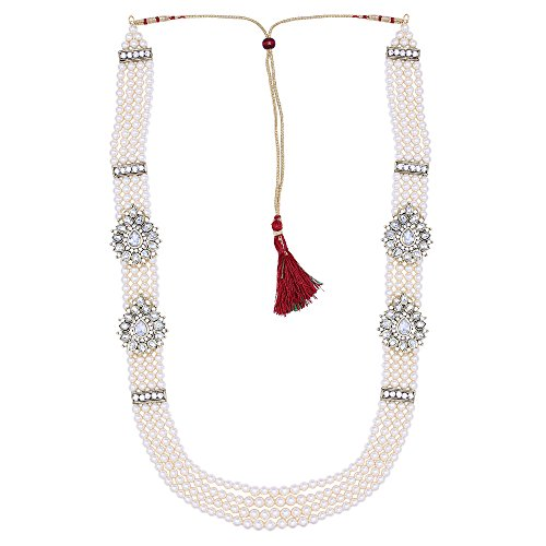Sanjog Enchanted Off White Long Pearl Jewelry Necklace Pearl Men Groom For...