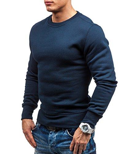 BOLF Herren Pullover Sweatshirts Langarm Pulli ohne Kapuze MIX Dunkelblau_BO-01