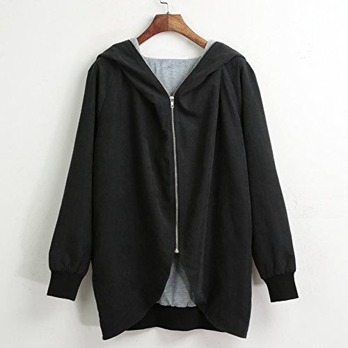 Romacci Women Autumn Winter Hoodies Zip up Long Sleeve Plus Size Loose Jacket Hooded Coat Cardigan Parka Black/Army Green