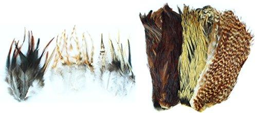 Fliegenbinde Federn Bindematerial in 2 verschiedenen Farbvariationen, Farbe :Natural Oder Fliegenbinden
