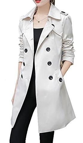 Blansdi Damen Klassischer Trenchcoat Elegant Zweireihiger Mantel Lange Blazer Übergangsjacke Schlank Parka Windbreaker Jacke Coat Outwear Mit Gürtel Herbstjacke Winter