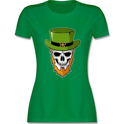 Festival - St. Patricks Day - Totenkopf - L - Grün - L191 - Damen T-Shirt (Patricks St Shirts T)