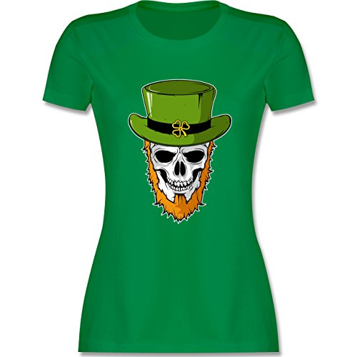 Festival - St. Patricks Day - Totenkopf - L - Grün - L191 - Damen T-Shirt (St Day Mädchen Patricks)