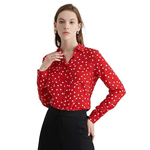 5472ddf897ff01 LilySilk Liebling Seidenbluse Damenmode Oberteil Seidenhemd Hemdbluse Damen  aus Seide Rot L Verpackung MEHRWEG