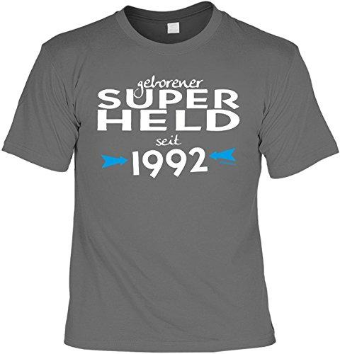 T-Shirt zum Geburtstag: Geborener Super Held seit 1992 - Tolle Geschenkidee - Baujahr 1992 - Farbe: anthrazit Anthrazit