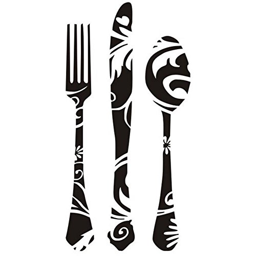 Cupcinu Cutlery Knife Fork and Spoon Pattern Wall Stickers Removable Art Wall Murals Decal Stickers Artwork Wall Stickers for Living Room Dining Room Western Resturant Kitchen Decor