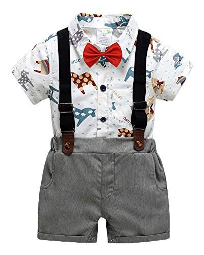 QitunC Baby Jungen Taufanzug Drucken Kurze Ärmel Fliege Hemd Strampler Hosenträger Shorts Kinderbekleidung Gentleman Sets Aspicture 80