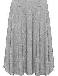 9ac6d079e49 WearAll Womens Plus Size Plain Flared Elastic Waist Ladies Short Skater  Skirt - Sizes 14-