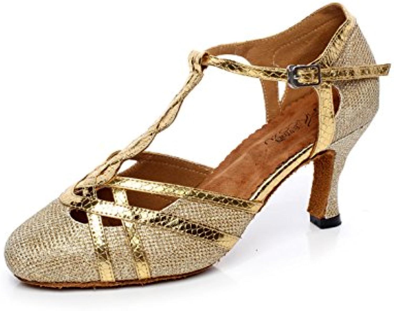 3ee0e678ef4 JSHOE Women s Women s Women s T-strap Glitter Tango Salsa Wedding Latin  Dance Shoes Closed-