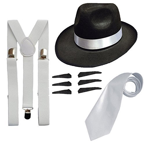 DELUXE 1920S GANGSTER FANCY DRESS SET - TRILBY HAT + SUSPENDER BRACES +TIE (Black Hat) by RS FASHIONS (Fashion 1920s Gangster)