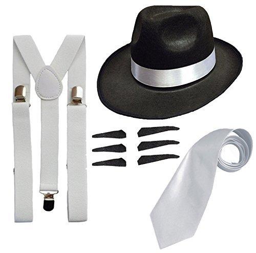 DELUXE 1920S GANGSTER FANCY DRESS SET - TRILBY HAT + SUSPENDER BRACES +TIE (Black Hat) by RS FASHIONS
