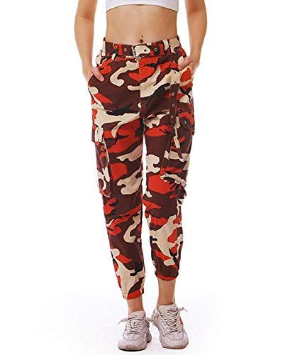 Fanient Damen Sporthose Tactical Cargo Pants hohe Taille Bunte Arbeit Cargohose mit Gürtel Laufen bekämpfen Hose Mädchen Outdoor Hose Arbeitshose