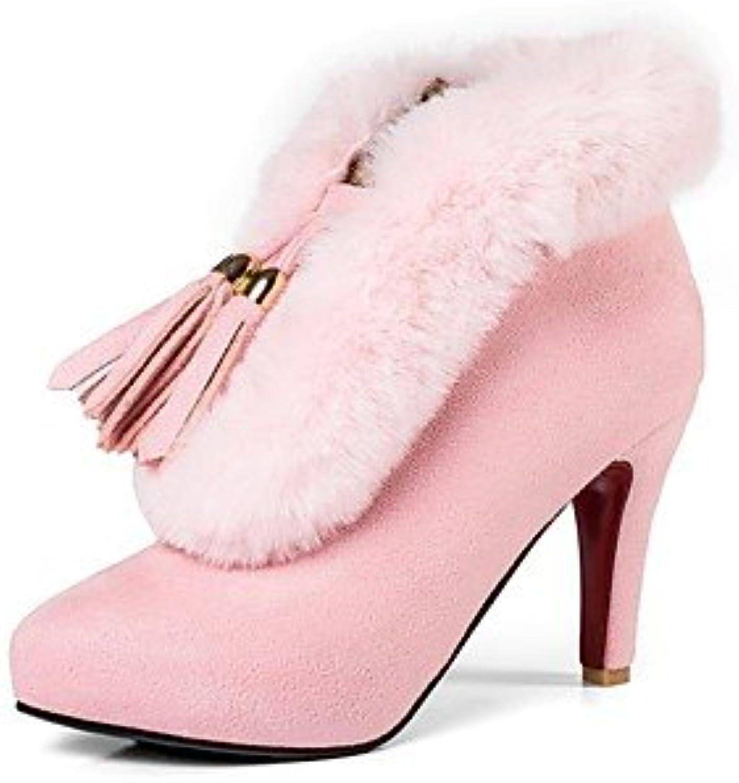 RTRY Zapatos De Mujer De Cuero De Nubuck Moda Invierno Botas Botas Stiletto Talón Round Toe Botines/Botines Para...