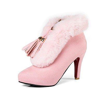 RTRY Scarpe Da Donna In Pelle Nubuck Inverno Moda Stivali Stivali Stiletto Heel Round Toe Stivaletti/Stivaletti Per Abbigliamento Casual Arrossendo Rosa Grigio US6.5-7 / EU37 / UK4.5-5 / CN37