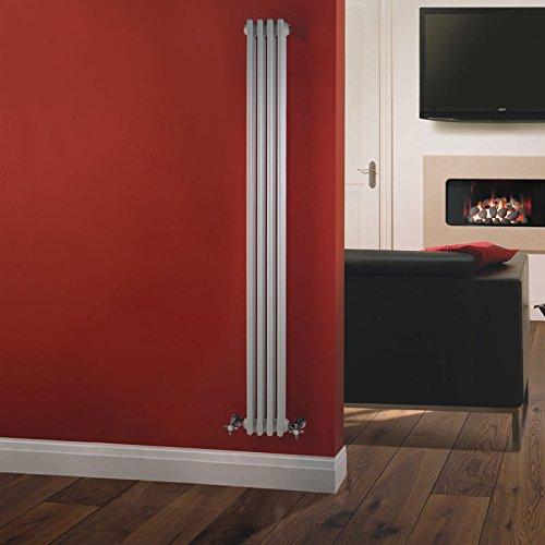 Hudson Reed - Radiateur Chauffage Central Vertical Style Fonte - 180 x 20cm - 3 Rangs de Colonnes