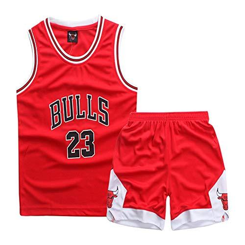 FEIF Jungen Mädchen Basketball Jersey-Sommer Basketball T-Shirt 23 Jersey Classic Ärmelloses Top & Shorts,Rot,S
