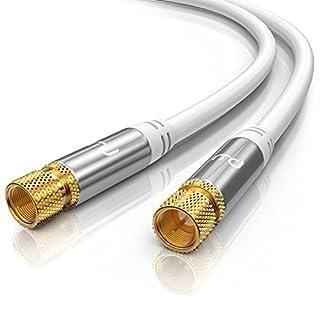 CSL - 0,5m SAT Kabel HDTV 135dB - Premium SAT Koaxialkabel Satellitenkabel F Stecker - TV HDTV Radio DVB-T DVB-C DVB-S DVB-S2 - Abschirmmaß 135db 75 Ohm - hochdichte 4-Fach Schirmung - weiß