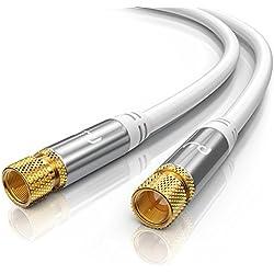 CSL-Computer Premium 5,0m câble d'antenne Sat Câble coaxial Koax HDTV Full HD Câble F pour Prise F - HDTV Full HD - Facteur de Blindage 135 DB Résistance 75 Ohm - Blanc