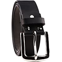 B&W Classic Black Genuine Leather Belt for Men- Casual 40MM