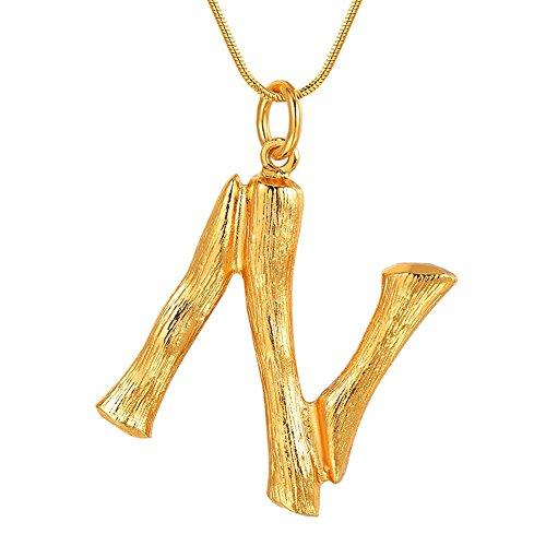 FOCALOOK Cadena de Oro Hombre Collar de Colgante Nombre Inicial Alfabeto A-Z Diseño Especial con Cadena Serpiente Chapado en Platino/Oro