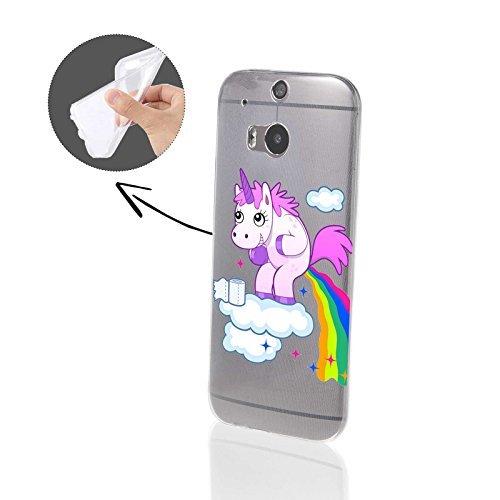 FINOO | HTC One M8 Weiche flexible Silikon-Handy-Hülle | Cover Schale mit Motiv | Tasche Case mit Ultra Slim Rundum-schutz | stoßfestes dünnes Bumper Etui | Einhorn kackt