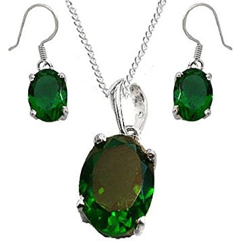 925plata de ley siberiano Esmeralda Oval Set de regalo. Colgante, anzuelo pendientes y una cadena de plata de ley–May piedra Natal