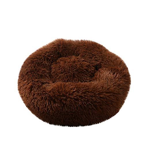 Yowablo Hund Runde Katze Winter Warmer Schlafsack Langes Plüsch Weiches Haustierbett Beruhigendes Bett (60 * 60 * 26cm,1- Kaffee)