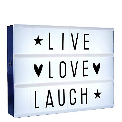 Monsterzeug LED Light Box, Leuchtkasten zum Selbstgestalten, 85 auswechselbare Buchstaben Zeichen, Batteriebetrieben, 22 x 29 cm -