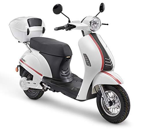Elektroroller LuXXon E3100LI – Elektro Scooter mit 2000 Watt Bosch Motor, max. 45 km/h, Reichweite bis zu 60 km, weiß