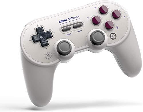8BitDo SN30 Pro + Bluetooth Gamepad para Nintendo Switch, PC, macOS, Android, Raspberry Pi con agarre, disparadores analógicos, batería desmontable, botones asignables, Gyro, Rumble (G)
