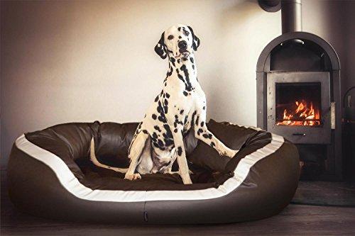 tierlando® PEPPER Orthopädisches Hundesofa in Kunstleder | 13cm mächtige Matratze VISCO | XXL-Kuschel-Rand | Creme 160cm XXL | Anti-Haar | Formstabil - 4
