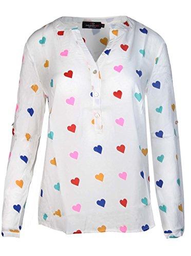 Zwillingsherz Bluse mit Herz Muster - Hochwertiges Oberteil Für Damen Mädchen - Langarmshirt - Top - T-Shirt - Pullover - Sweatshirt - Hemd Für Sommer Herbst und Winter von