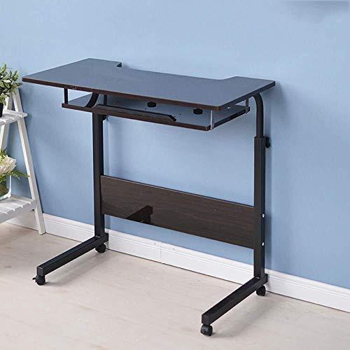 MXK Verstellbarer Rundtisch 80 cm Mobiler Laptop Computer Ständer Schreibtischwagen Ablage Beistelltisch Für Bett Sofa Krankenhaus Krankenpflege Lesen Essen (Color : Brown) -