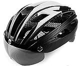 Leadfas Cycle Bike Helme, CE Zertifiziert, Radfahren Helm mit Abnehmbaren Magnet Brillen Visier Shield Verstellbar Unisex Herren Damen Road Mountain Sicherheit Schutz Radfahren Fahrrad Helm,
