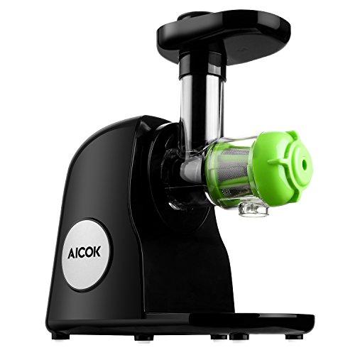 Aicok Slow Entsafter, Slow Juicer, Ruhiger Motor mit Zurückdrehen Funktion, Saftkruge und Reinigungsbürste, Maximale Nährstoffextraktion, Schwarz