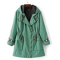 ZZHH Impermeabile Giacche e Cappotti Trench Coat donna ricamato con cappuccio con coulisse . s
