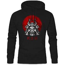 Urban Backwoods Bushido Samurai I Hoodie Sudadera con Capucha Sweatshirt Negro Talla M