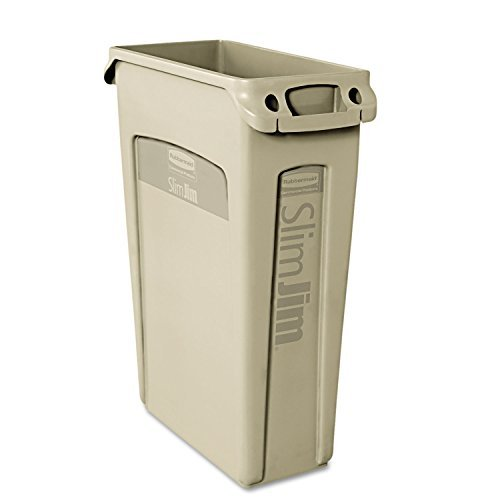slim-jim-receptacle-w-venting-channels-rectangular-plastic-23-gal-beige-by-rubbermaid-commercial