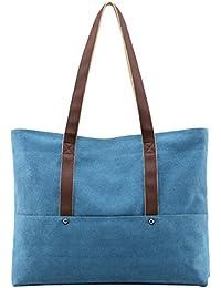 Damen Leinwand Handtasche Schultertasche Umhängetasche Tasche Shopper Henkeltasche aus Canvas