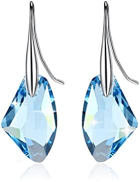 GoSparkling Aquamarine Blue Crystal 6656 19mm Sterling Silber Ohrringe mit österreichischen Kristall für Frauen