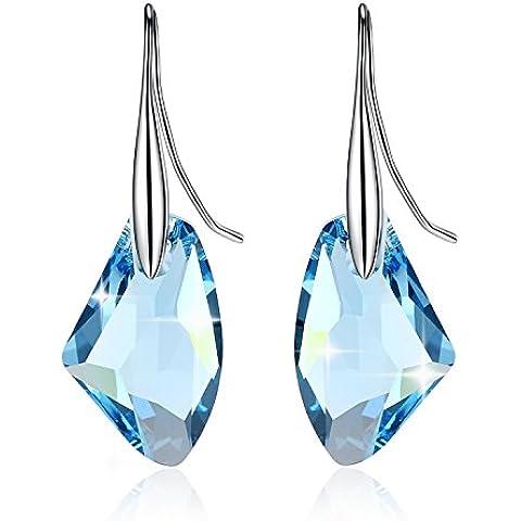 GoSparking Aquamarine cristallo blu 6656 19 millimetri Sterling Silver Orecchini con cristallo austriaco per le donne