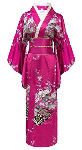 Japanischer geisha Kimono fucsia mit Obi-Gürtel (Kimono Japan Frau)