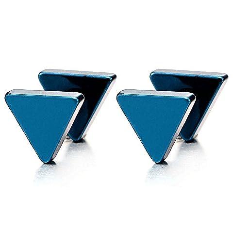 Bleu Triangle Boucles d'oreilles Homme Femmes - Bouchon Jauge d'oreille Faux Cheater Fake Gauges Plugs Acier 1