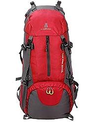 huiguizhe deportes al aire libre 60L impermeable mochila de senderismo escalada montañismo bolsa de viaje senderismo mochila con Cubierta para la lluvia, color rojo, tamaño (60L) UK, volumen liters 60.0