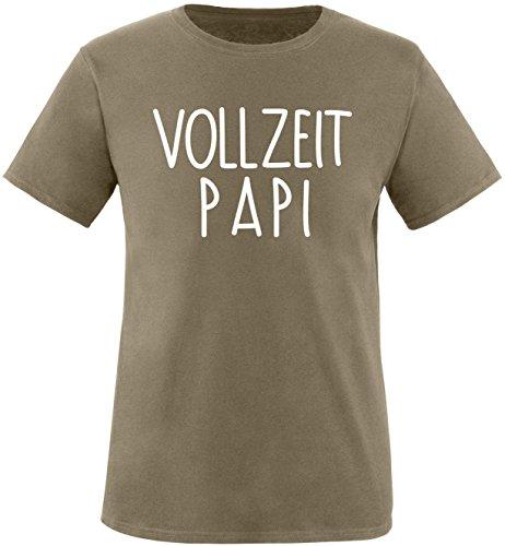 EZYshirt® Vollzeit Papi Herren Rundhals T-Shirt Oliv/Weiss